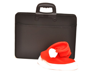 Black business briefcase with Santa's hat