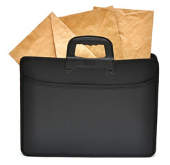 Black business briefcase with envelopes