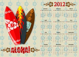 Vector Aloha calendar 2012 with surf boards