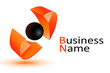 3d Abstract orange business logo
