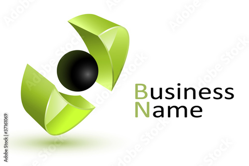 3d Abstract green business logo