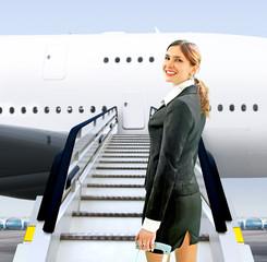 flight attendant near moving ramp