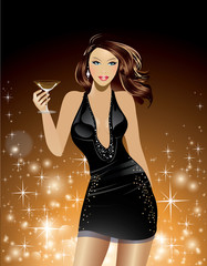 Beautiful Woman Holding Cosmopolitan Cocktail