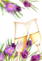 Decoration from crocuses and champagne flutes
