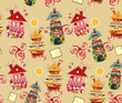 seamless background with candy houses