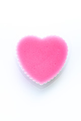 isolated pink thai jelly shaped heart