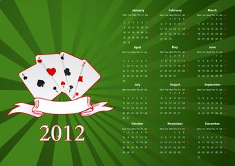 Vector European calendar with cards
