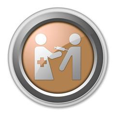 "Bronze 3D Style Button ""Immunizations"""