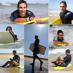 Collage of a man surfing