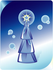Blue Christmas tree on abstract blue background. Vector illustra