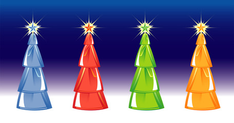 Christmas tree isolated on blue background. four colors. Vector