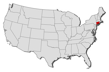 Map of the United States, Connecticut highlighted