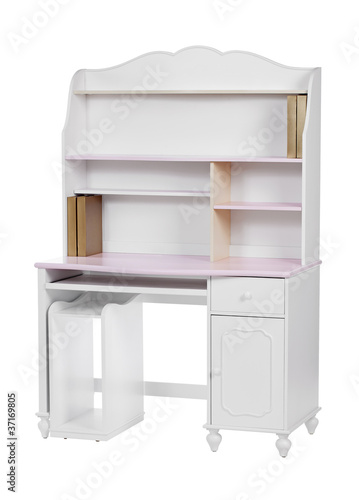 Wooden workstation (desk and bookcase), with clipping path