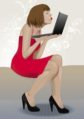 retrato vectorial de mujer enamorándose a través de internet