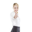 hapyy business woman holding thumb up