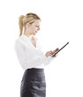 young attractive business woman uses a mobile tablet computer
