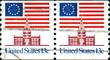 Drapeaux Etats unis. Independence Hall, US Postage.