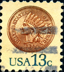 Indian Head Cent. 1877. US Postage.