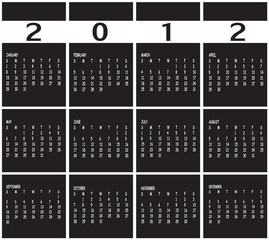 black and white Calendar for 2012