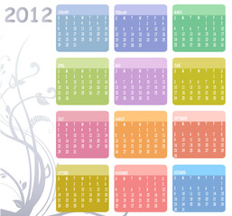 Colorful Calendar for 2012