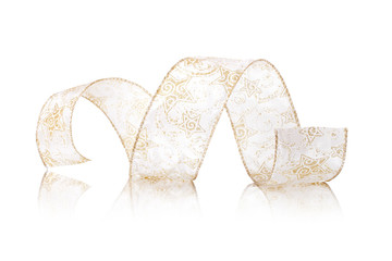 gold ribbon serpentine on a white background