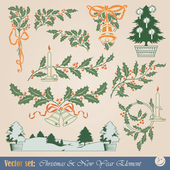 Vector design elements - Happy Christmas And New-Year's