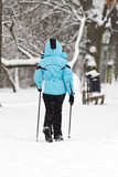 Nordic walking on snow