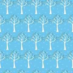 Seamless pattern . Winter seamless pattern with tree