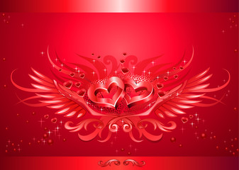 Winged hearts card