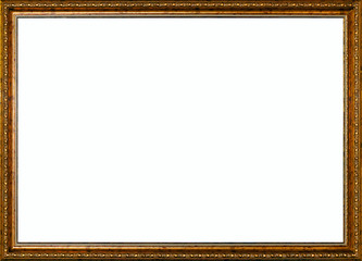 aged vintage golden rustic high quality wide frame isolated over