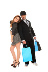 young stylish man and girl shopping