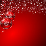 christmas background with stars and christmas balls