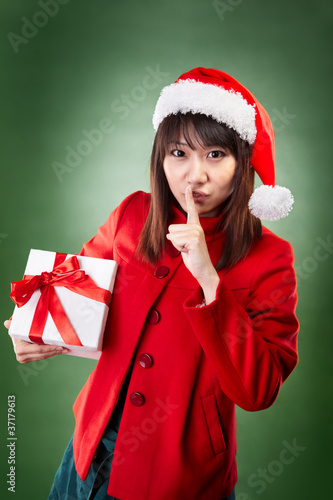 Christmas girl with present