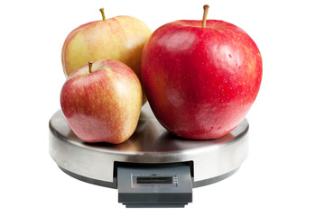 Apples on a scales