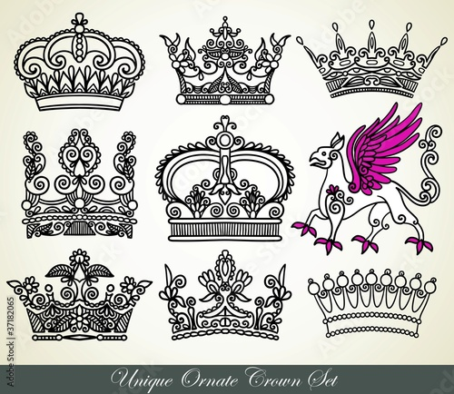 unique ornamental heraldic crown set
