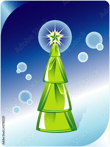 Green Christmas tree on abstract blue background. Vector illustr