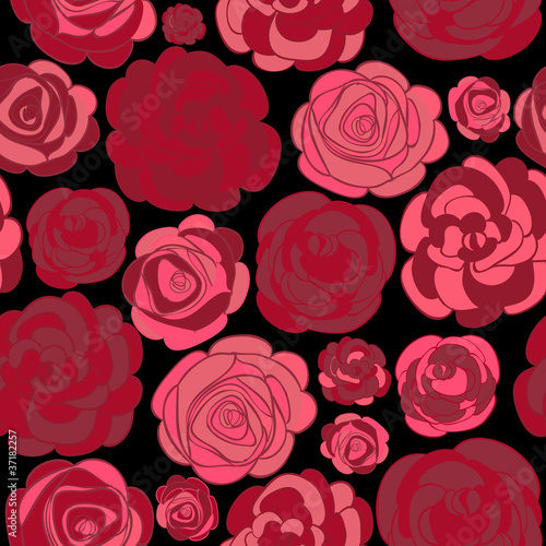 Pattern with red roses on black