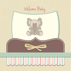 new baby card with elephant