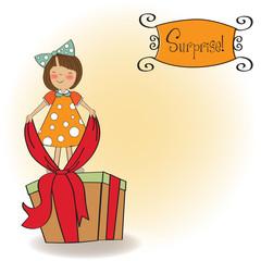 a nice girl with a big gift box