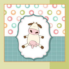 fun greeting card with cow
