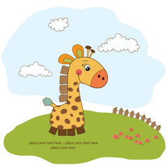 greeting card with giraffe toy