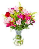 Flower bouquet arrangement centerpiece in vase