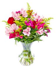 Flower bouquet arrangement centerpiece in vase