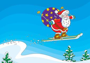 Santa Claus ski jumper