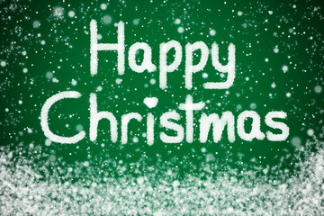 Happy Christmas Message on Green Star Background with Snow