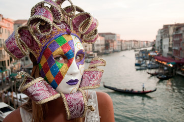 Carnival in Venice - beautiful girl in carnival mask