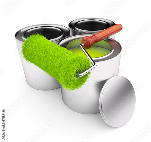 Green paint of grass. Roller and steel can isolated on white bac