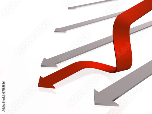 Red and grey arrow
