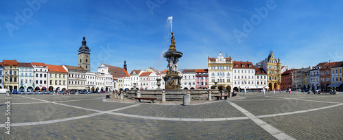 Panorama of the central square of Ceske Budejovice
