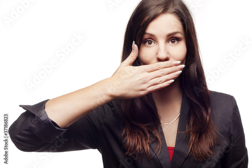Businesswoman with closed mouth